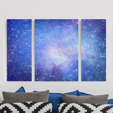 Stampa su tela 3 parti - Constellation sky map - Trittico