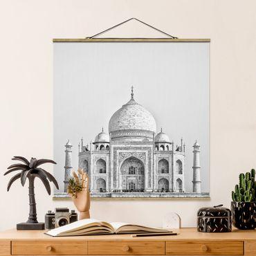 Foto su tessuto da parete con bastone - Taj Mahal In Grey - Quadrato 1:1