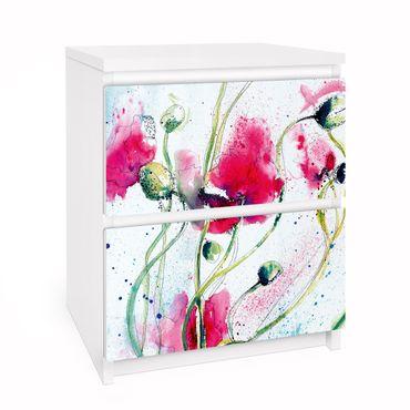 Carta adesiva per mobili IKEA - Malm Cassettiera 2xCassetti - Painted Poppies