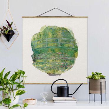 Foto su tessuto da parete con bastone - Acquerelli - Claude Monet - Ponte giapponese - Quadrato 1:1