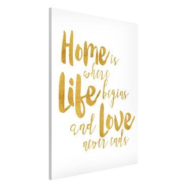 Lavagna magnetica - La casa è dove Life Begins oro - Formato verticale 2:3