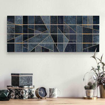 Stampa su legno - Elisabeth Fredriksson - Blu Geometria Acquerello - Orizzontale 2:5
