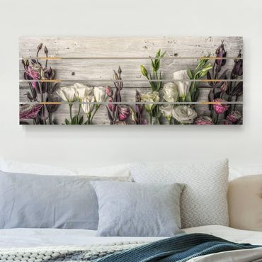 Stampa su legno - Tulip Rose Shabby Woodlook - Orizzontale 2:5