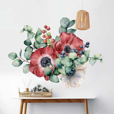 Adesivo murale - Acquerello Eucalyptus Anemoni Bouquet XXL