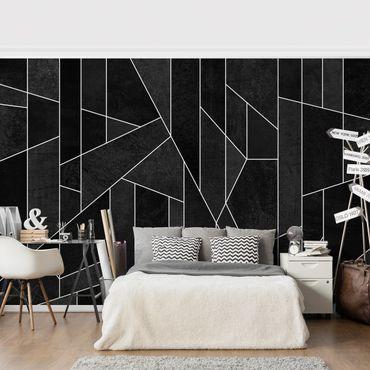 Carta da parati - Bianco e nero geometrico Acquarello- Formato quadrato