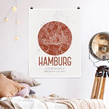 Poster - Mappa Hamburg - Retro - Verticale 4:3