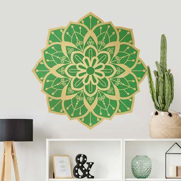 Adesivo murale - Mandala Fiore modello Oro Verde