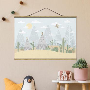 Foto su tessuto da parete con bastone - Tepee con cactus - Orizzontale 2:3