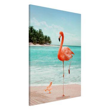 Lavagna magnetica - Spiaggia Con Flamingo - Formato verticale 2:3