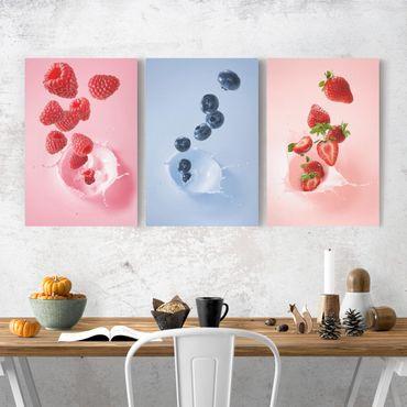 Stampa su tela 3 parti - Colorful fruits milk splash - Verticale 3:2