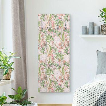 Appendiabiti in legno - Rosa Cacatua con fiori - Ganci cromati - Verticale