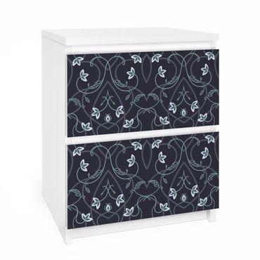 Carta adesiva per mobili IKEA - Malm Cassettiera 2xCassetti - Floral ornament fantasy