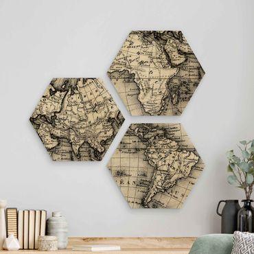 Esagono in legno - Old World Map Dettagli
