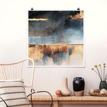 Poster - Estratto Lakeshore In Oro - Quadrato 1:1