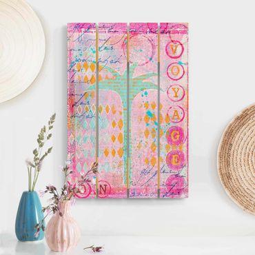 Stampa su legno - Colorato collage - Bon Voyage Con La Palma - Verticale 3:2