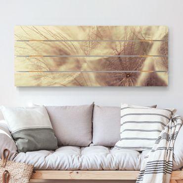 Stampa su legno - Dettagliata Dandelion Macro Shot con sfocatura effetto vintage - Orizzontale 2:5