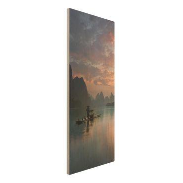 Quadro in legno - Alba sul fiume cinese - Pannello