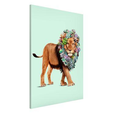 Lavagna magnetica - Leone con Succulente - Formato verticale 2:3