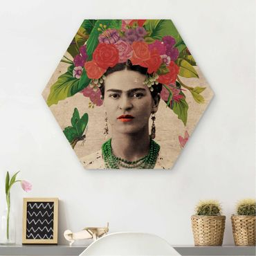 Esagono in legno - Frida Kahlo - Fiore Ritratto