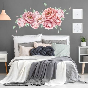 Adesivo murale fiori - Set di peonie rosé