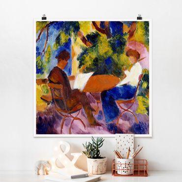 Poster - August Macke - coppia alla Tavolo da giardino - Quadrato 1:1