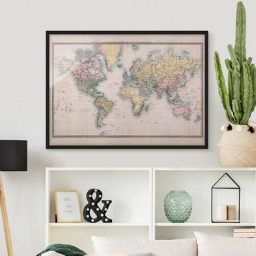 Poster con cornice - Vintage World Map 1850 - Orizzontale 3:4