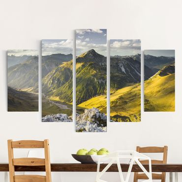 Stampa su tela 5 parti - Mountains and valley of the Lechtal Alps in Tirol