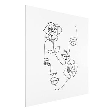Stampa su Forex - Line Art Faces donne Roses Bianco e nero - Quadrato 1:1