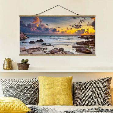 Foto su tessuto da parete con bastone - Sunrise Beach In Thailandia - Orizzontale 1:2