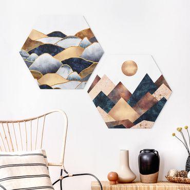 Esagono in forex - Elisabeth Fredriksson - Geometrico & Oro Monti Acquerello