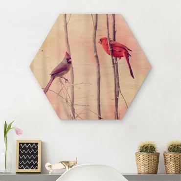 Esagono in legno - Uccelli sui rami