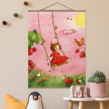 Foto su tessuto da parete con bastone - Strawberry Coniglio Erdbeerfee - Albero altalena - Verticale 4:3