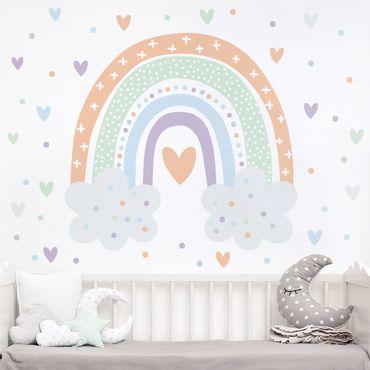 Adesivo murale - Arcobaleno con nubi pastello