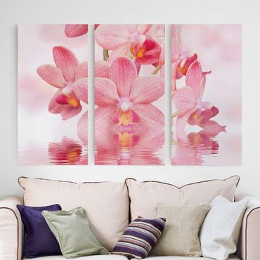 Stampa su tela 3 parti - Pink Orchids On Water - Verticale 2:1