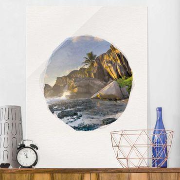 Quadro in vetro - Acquarelli - Tramonto Sulla Islanda Paradise - Verticale 4:3
