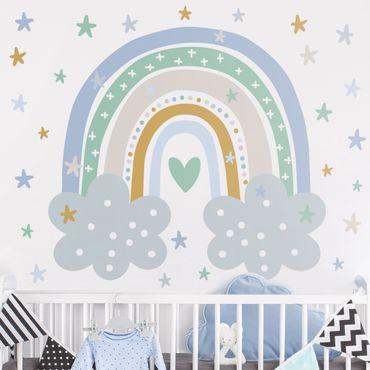 Adesivo murale - Arcobaleno con nubi Blu Turchese