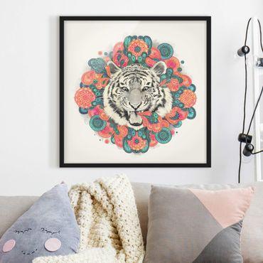 Poster con cornice - Illustrazione Tiger disegno Mandala Paisley - Quadrato 1:1