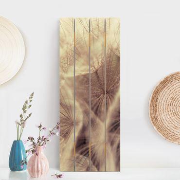 Stampa su legno - Dettagliata Dandelion Macro Shot con sfocatura effetto vintage - Verticale 5:2