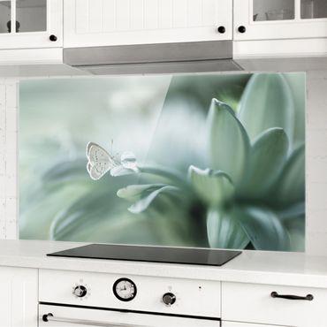 Paraschizzi in vetro - Farfalla E Gocce di rugiada In Pastel Verde - Orizzontale 1:2