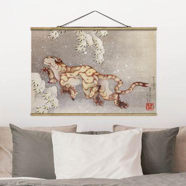 Foto su tessuto da parete con bastone - Katsushika Hokusai - Tiger in tempesta di neve - Orizzontale 2:3
