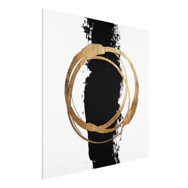 Stampa su Forex - Forme astratte - oro e nero - Quadrato 1:1