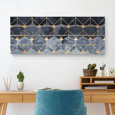 Stampa su legno - Elisabeth Fredriksson - Blu Geometria Golden Art Deco - Orizzontale 2:5
