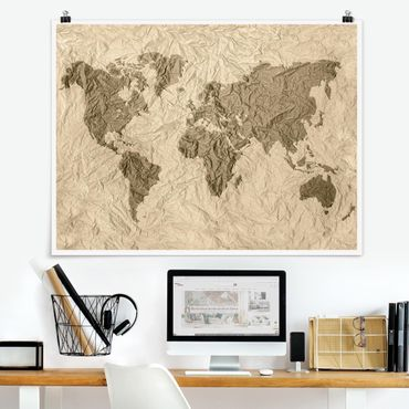 Poster - Paper World Map Beige Marrone - Orizzontale 3:4
