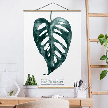 Foto su tessuto da parete con bastone - Emerald Monstera adansonii - Verticale 4:3