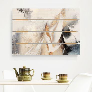 Stampa su legno - Elisabeth Fredriksson - Oro pittura astratta inverno - Orizzontale 2:3