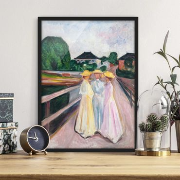 Poster con cornice - Edvard Munch - Three Girls On The Bridge - Verticale 4:3