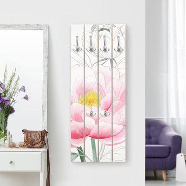 Appendiabiti in legno - Disegno Pink Peony I - Ganci cromati - Verticale