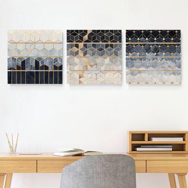 Quadro in legno effetto pallet - Elisabeth Fredriksson - Blu Bianco Oro esagonale Set - Quadrato 1:1