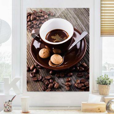 Quadro in vetro - Fagioli della tazza di caffè con il caffè - Verticale 4:3