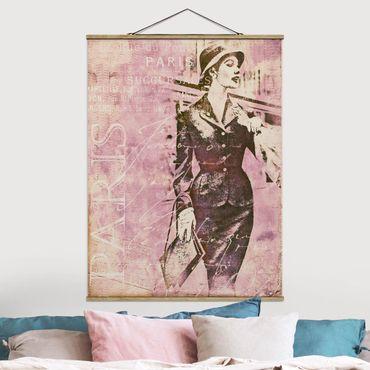 Foto su tessuto da parete con bastone - Vintage Collage - Parisienne - Verticale 4:3